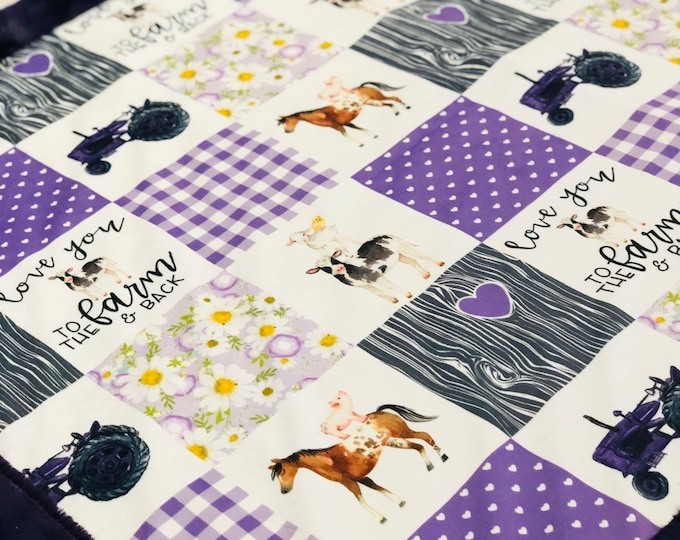 """FREE NAME EMBROIDERY-""""Farm Life"""" Minky Blankets & Bedding"""