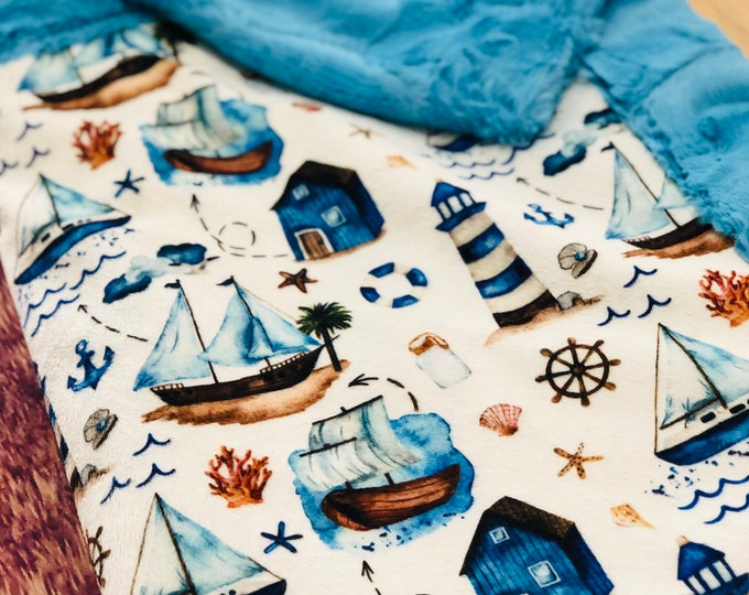 "FREE NAME EMBROIDERY-""Sailboats"" Minky Blankets & Bedding"