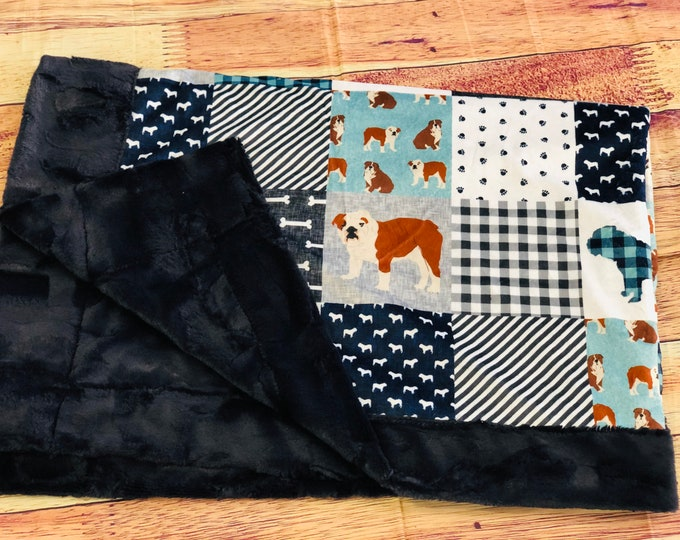 """FREE NAME EMBROIDERY-""""Bull Dog"""" Minky Blankets & Bedding"""