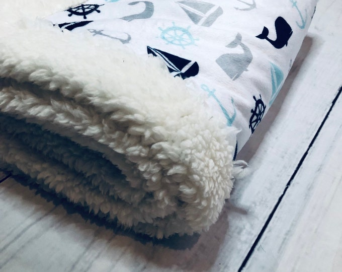 Nautical Themed Minky Blankets & Bedding (+FREE NAME EMBROIDERY)