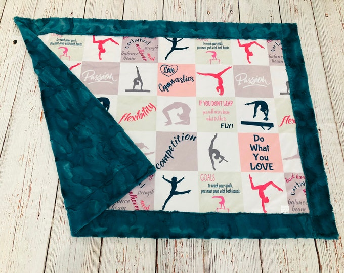 "FREE NAME EMBROIDERY-""Gymnastics"" Minky Blankets & Bedding"