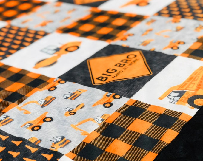 Big Bro Construction Themed Minky Blankets & Bedding (+ FREE NAME EMBROIDERY)