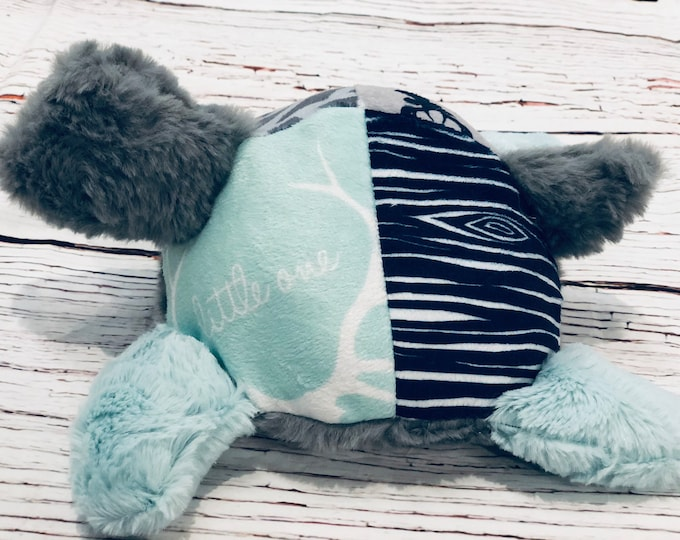 """FREE NAME EMBROIDER-""""Little One"""" Themed Turtle Minky Stuffie"""