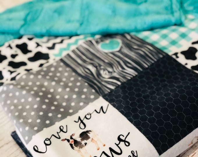 """FREE NAME EMBROIDERY-""""Love You Til The Cows Come"""" Minky Blankets & Bedding"""
