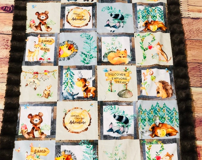 "FREE NAME EMBROIDERY-""Woodland Creatures"" Minky Blankets & Bedding"