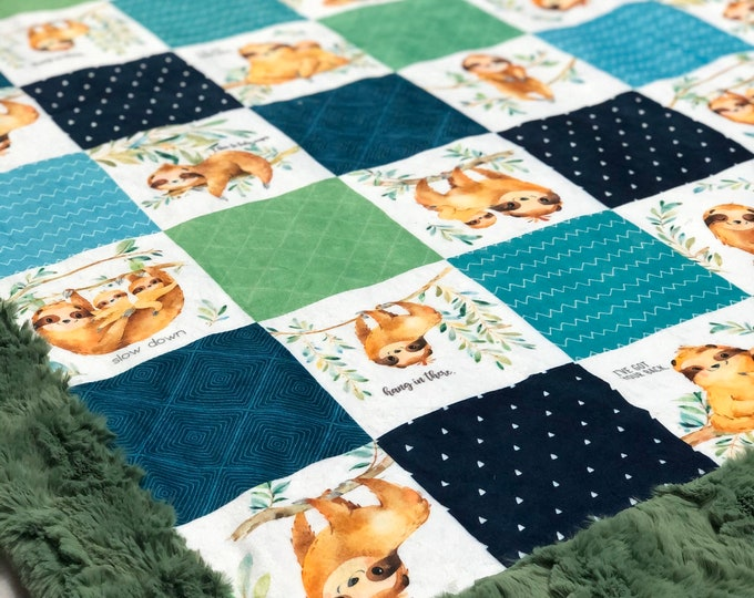 "FREE NAME EMBROIDERY-""Sloth"" Minky Blankets & Bedding"