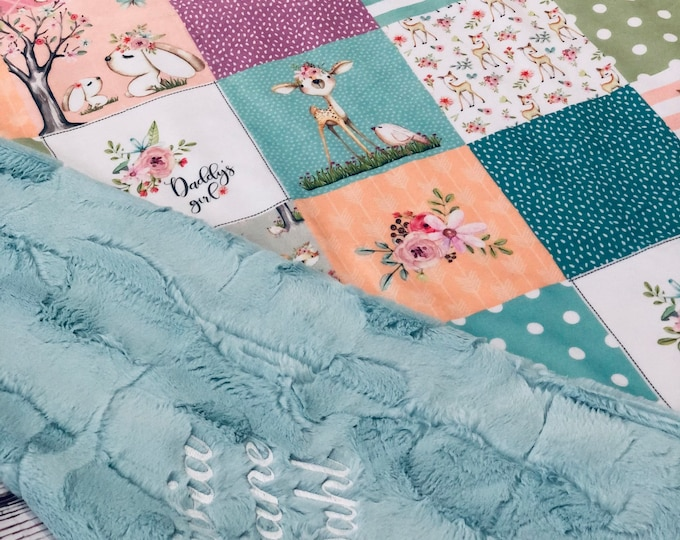 """FREE NAME EMBROIDERY-""""Daddy's Girl"""" Minky Blankets & Bedding"""