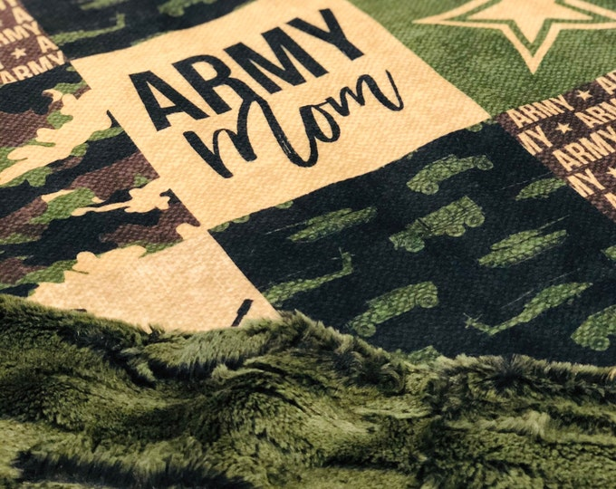 "FREE NAME EMBROIDERY-""Army Mom"" Minky Blankets & Bedding"