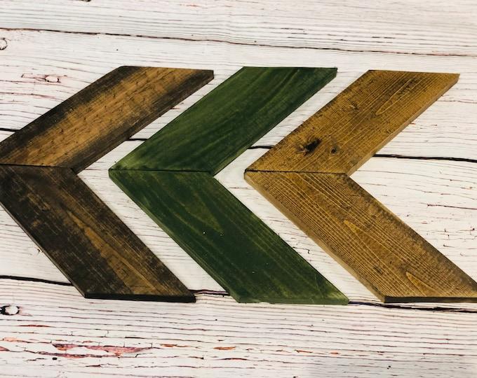 Deep Forest Wooden Chevron Arrows-Set of 3