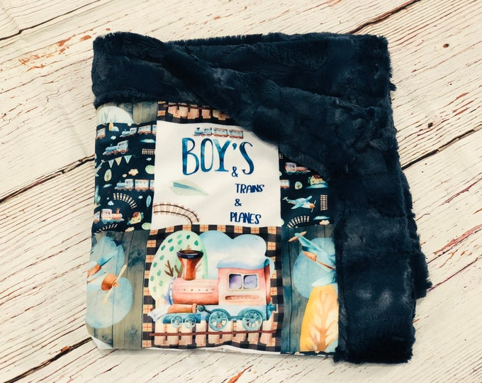 "FREE NAME EMBROIDERY-""Boys, Trains, and Planes"" Minky Blankets & Bedding"