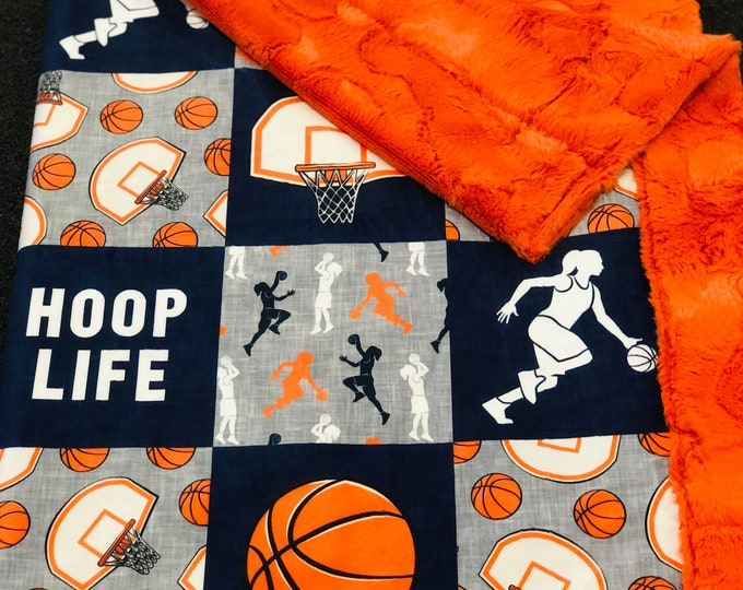 """FREE NAME EMBROIDERY-""""Hoop Life"""" Girl Minky Blankets & Bedding"""