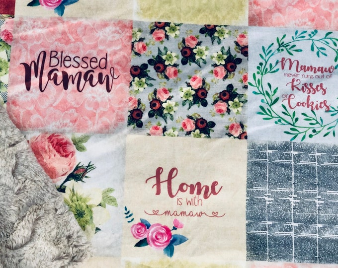 """FREE NAME EMBROIDERY-""""Mammaw"""" Minky Blankets & Bedding"""