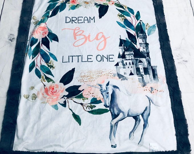 Unicorn Castle Minky Blankets & Bedding (+ FREE NAME EMBROIDERY)