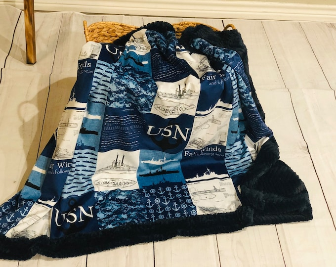 """FREE NAME EMBROIDERY-""""United States Navy"""" Themed Minky Blankets & Bedding"""