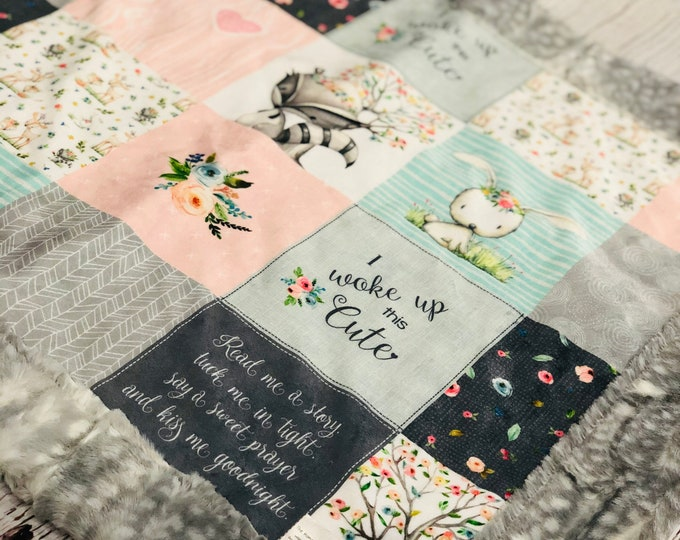 "FREE NAME EMBROIDERY-""I Woke Up This Cute"" Minky Blankets & Bedding"