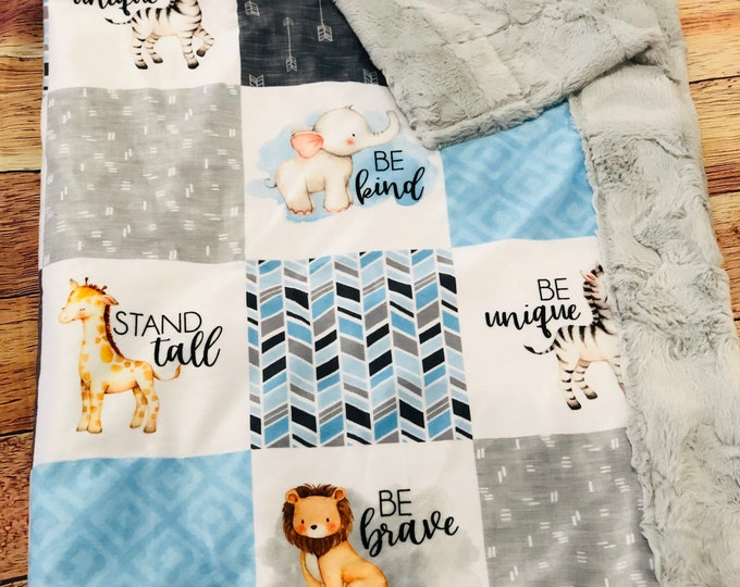 """FREE NAME EMBROIDERY-""""Zoo Animals"""" Minky Blankets & Bedding"""