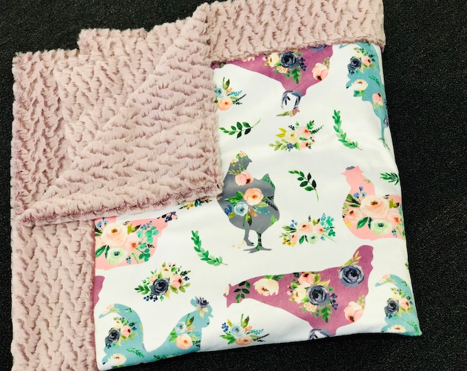 Floral Chicken Minky Blankets & Bedding (+ FREE NAME EMBROIDERY)