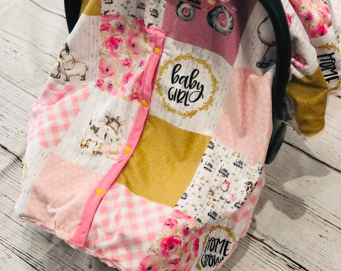 Baby Girl/Home Grown Car Seat Canopy Cover