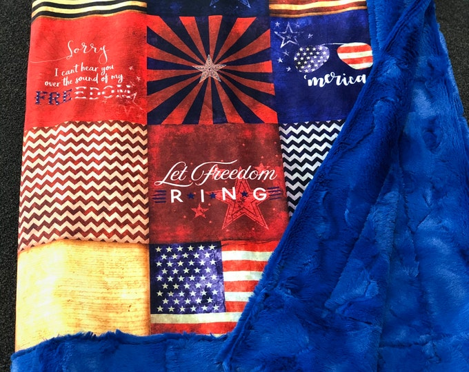 """FREE NAME EMBROIDERY-""""'Merica"""" Minky Blankets & Bedding"""