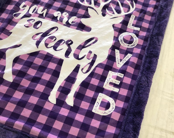 """FREE NAME EMBROIDERY-""""Deerly Loved"""" Minky Blankets & Bedding"""