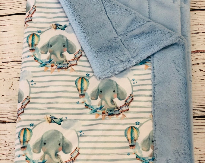 "FREE NAME EMBROIDERY-""Elelphant"" Boy Minky Blankets & Bedding"