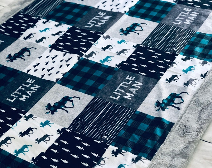 "FREE NAME EMBROIDERY-""Little Man"" Minky Blankets & Bedding"