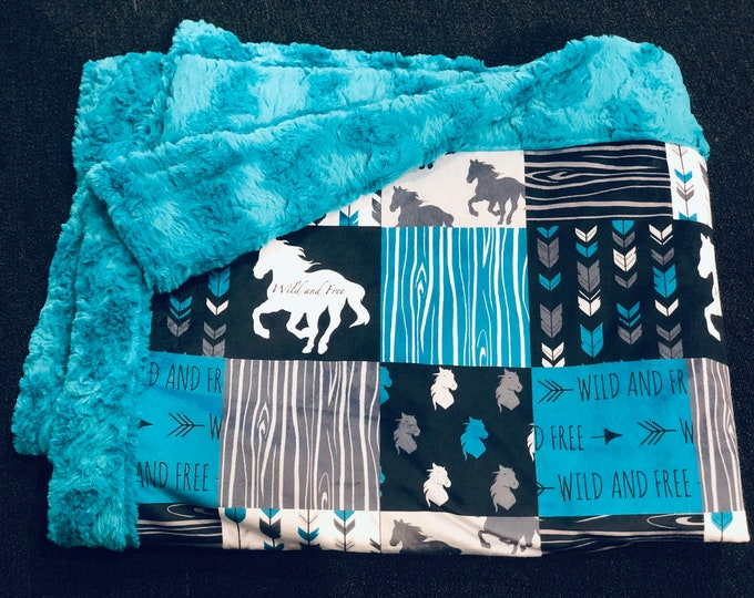 "FREE NAME EMBROIDERY-""Horse"" Minky Blankets & Bedding"
