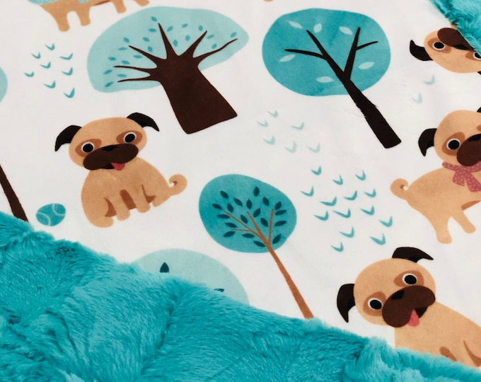 "FREE NAME EMBROIDERY-""Pug Love"" Minky Blankets & Bedding"