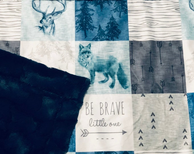 """FREE NAME EMBROIDERY-""""Be Brave, Little One"""" Minky Blankets & Bedding"""