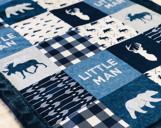 """FREE NAME EMBROIDERY-""""Little Man"""" Minky Blankets & Bedding"""