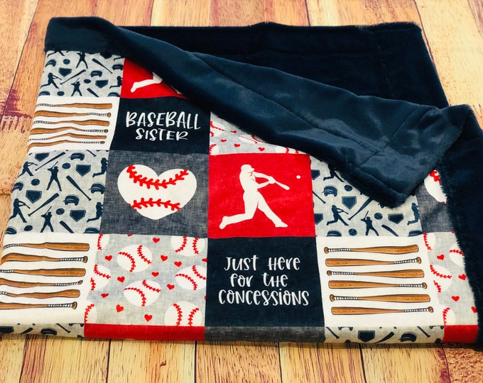 "FREE NAME EMBROIDERY-""Baseball Sister"" Minky Blankets & Bedding"
