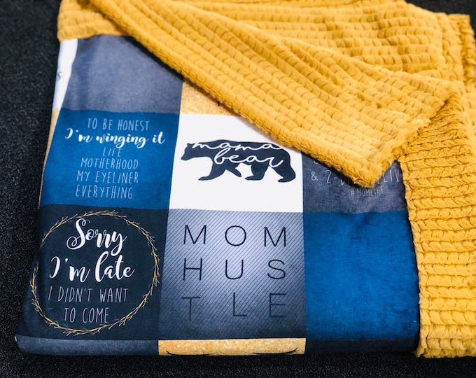 "FREE NAME EMBROIDERY-""Mom Hustle"" Minky Blankets & Bedding"