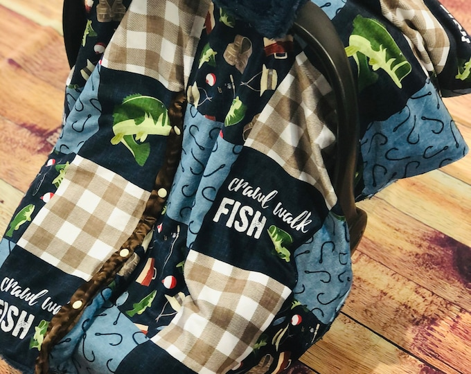 Fishing Minky Car Seat Canopy Cover
