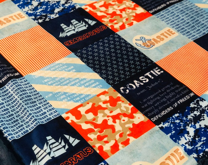 """FREE NAME EMBROIDERY-""""Coast Guard"""" Minky Blankets & Bedding"""