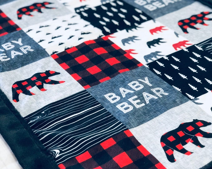 """FREE NAME EMBROIDERY-""""Baby Bear"""" Minky Blankets & Bedding"""