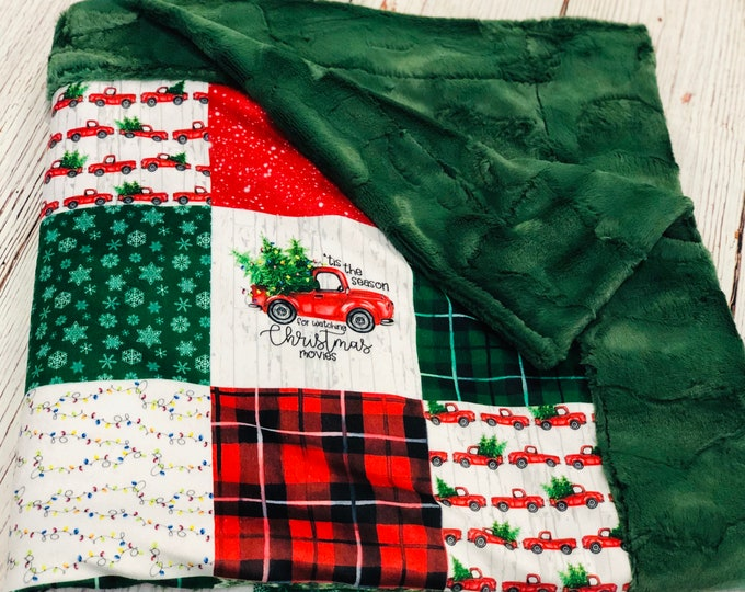 """FREE NAME EMBROIDERY-""""Christmas Movies"""" Minky Blankets & Bedding"""