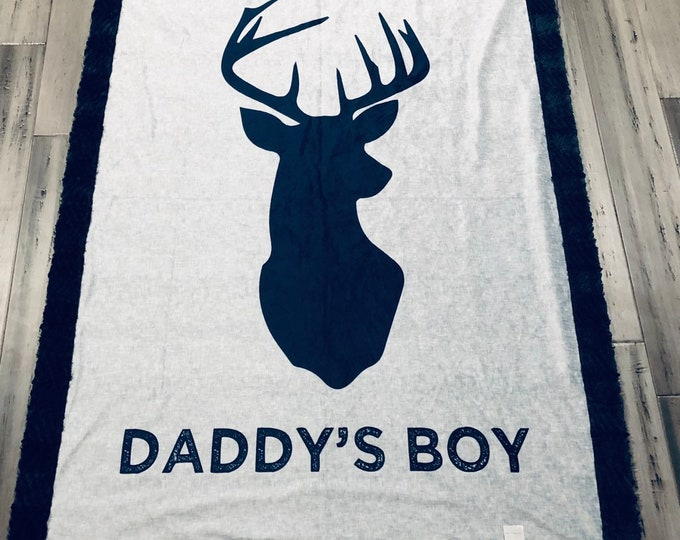"""FREE NAME EMBROIDERY-""""Daddys Boy"""" Minky Blankets & Bedding"""
