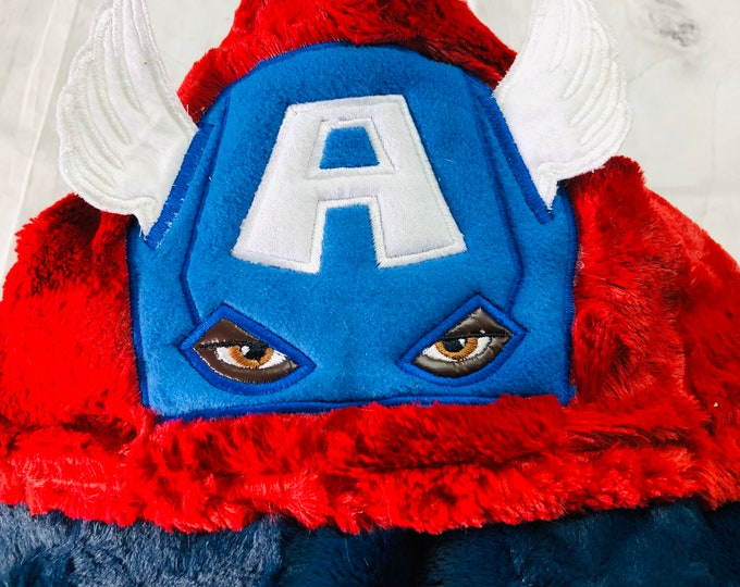 Captain America-African American Hooded Blankets ( + FREE NAME EMBROIDERY)