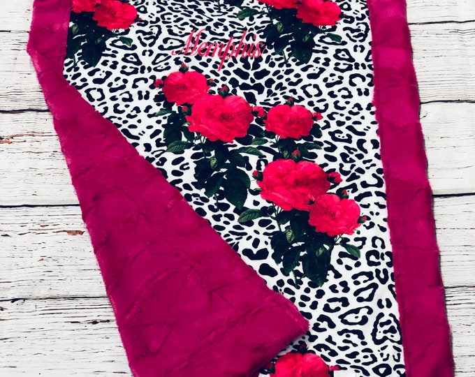 "FREE NAME EMBROIDERY-""Ooh La La Leopard"" Minky Blankets & Bedding"