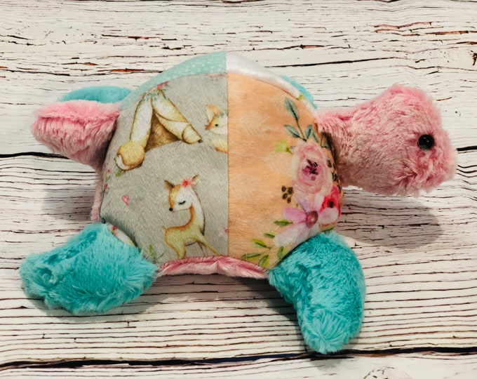 """FREE NAME EMBROIDERY-""""Daddy's Girl"""" Themed Minky Turtle Stuffie"""