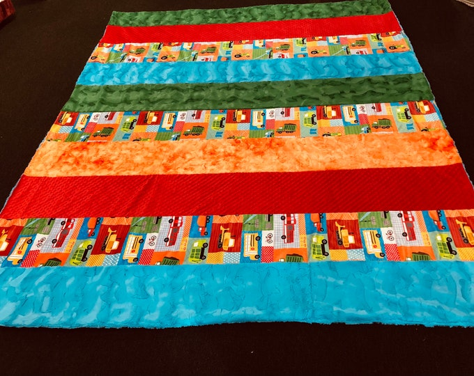 """FREE NAME EMBROIDERY-""""First Responders"""" Minky Strip Specialty Blanket"""