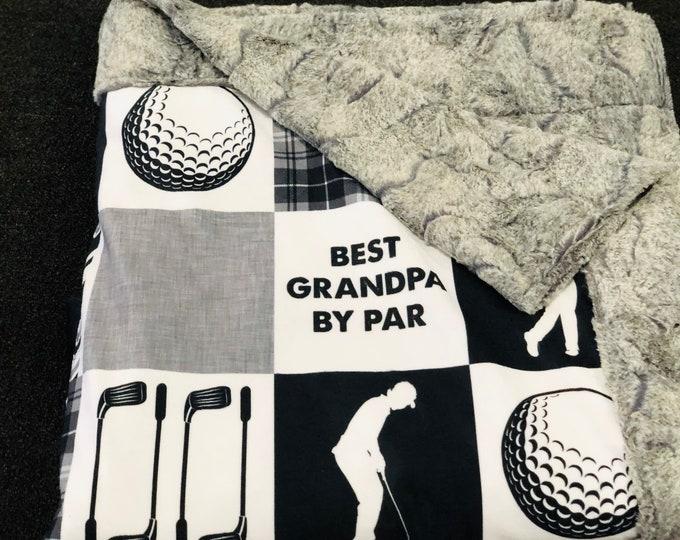 "FREE NAME EMBROIDERY-""Golf Grandpa"" Minky Blankets & Bedding"