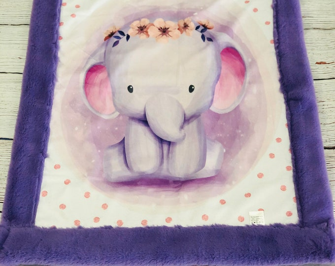 "FREE NAME EMBROIDERY-""Elephant"" Girl Minky Blankets & Bedding"