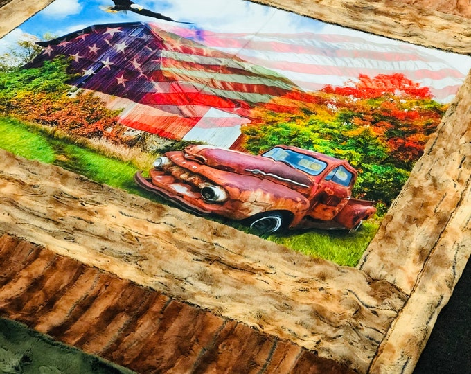 """FREE NAME EMBROIDERY-""""Land of Liberty"""" Strip Specialty Minky Blankets & Bedding"""