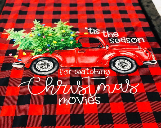 "FREE NAME EMBROIDERY-""Vintage Truck Christmas"" Minky Blankets & Bedding"