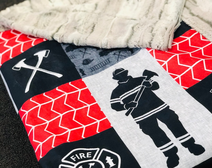 """FREE NAME EMBROIDERY-""""Firefighter"""" Minky Blankets & Bedding"""