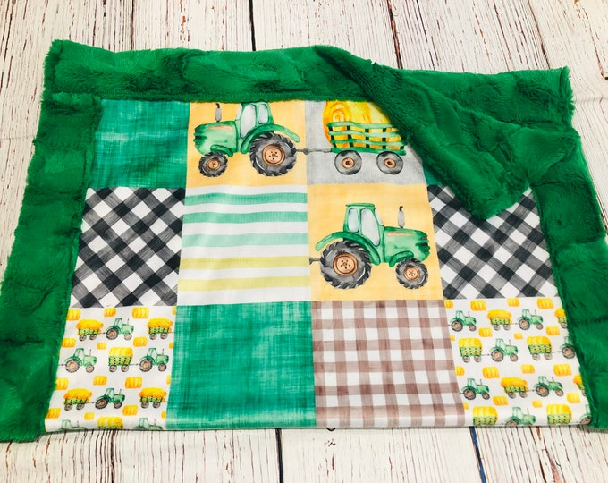 "FREE NAME EMBROIDERY-""Tractor Farm Life"" Minky Blankets & Bedding"