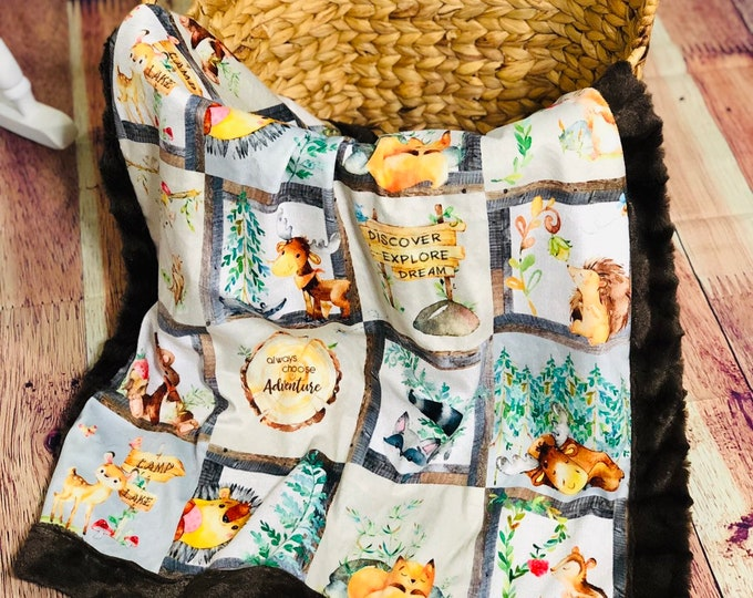 Woodland Creatures Minky Blankets & Bedding ( + FREE NAME EMBROIDERY)