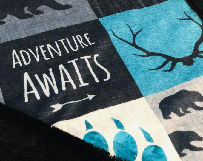 "FREE NAME EMBROIDERY-""Adventure Awaits"" Minky Blankets & Bedding"