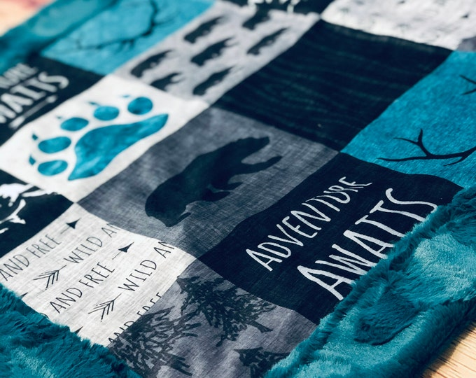 """FREE NAME EMBROIDERY-""""Adventure Awaits"""" Minky Blankets & Bedding"""